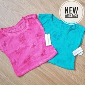 Girls Pink and Green butterfly embroidered Top set
